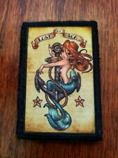 Mermaid Lost At Sea Tattoo Morale Patch Military Tactical Army Flag USA Badge