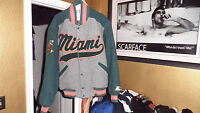 Miami Hurricanes Throwback Wool Varsity Starter Jacket Medium Mint! 2 live crew