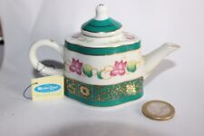 Maison Miniature Teapot Green Pink Flowers Porcelain Art Dolls House théière
