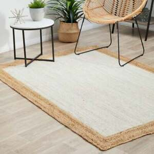 8x10 feet square Indian bohemain white jute rug with natural boarder floor rugs