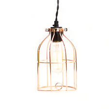Plug in Industrial Cage Pendant Light With Vintage Style Braided Cord