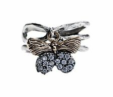 WAXING POETIC Natural Beauties Sterling Silver & Brass CZ Butterfly Ring Size 8