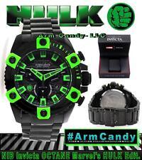 NWT RARE New Invicta 63mm Grand Octane Marvel's Hulk Edit Black w/ Green Accents
