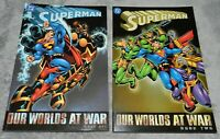 Superman Our Worlds at War Volumes 1 and 2 TPB 2002 first printing VF to NM