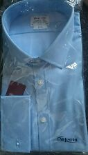 Man's classic blue cotton luxury slim fit long sleeve shirt by Lewin size 19/38