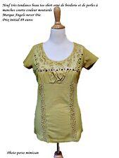Neuf tee - shirt orné de broderies et de perles dorées marque Angels never Die