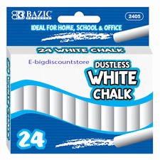24 PCS DUSTLESS CHALK WHITE COLOR BAZIC ITEM 2405 Kid Drawing Home school Office