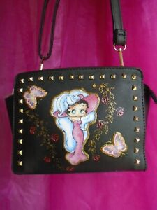 """NEW black studded  """" BETTY BOOP   """" PICTURE   SHOULDER BAG"""
