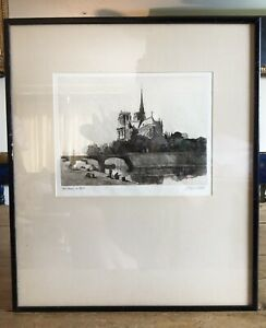 Stunning 19th Century Signed Etching Of Notre Dame Cathedral - 45cm H x 38cm W