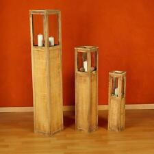 3 tlg Set Laterne braun Windlicht Säulen Rustica Kerze Holzlaterne Windlichtset
