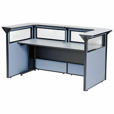 88 W X 44d X 44h U Shaped Reception Station With Window Gray Counterblue