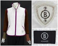 Womens BOGNER White Nylon Waistcoat Gilet Jacket Zip Ski Size 40 / UK14 / US10