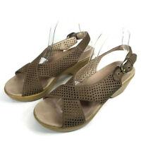 Dansko Jacinda Walnut Nubuck Perforated Leather Slingback Wedge Sandals 39 8.5-9