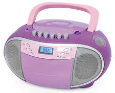 TERRIS Radio Tragbarer CD-Player Kassettendeck Boombox USB AUX IN UKW FM Lila.