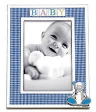 "Reed & Barton Gingham Bear Silverplate 4"" x 6"" Blue Baby Photo Frame"