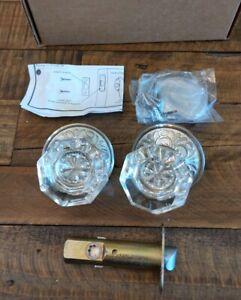 Emtek Old Town Clear Crystal Door Knob Privacy Oval Rosette Satin Nickel