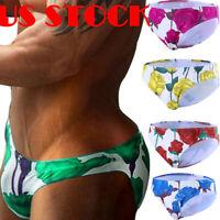 Men's Floral Print Brief Low Rise Pouch Beach Swim Bikini Surf Shorts Trunks US