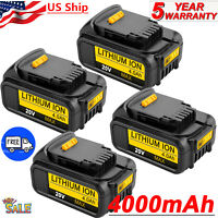 4 NEW For DEWALT DCB204-2 20V 20 Volt Lithium Ion 4.0AH Battery DCB205-2 DCB200