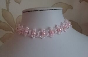 """Pearl & Crystal Beaded CHOKER necklace VINTAGE style PINK glass 13"""""""