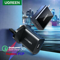 Ugreen QC 3.0 18W USB Wall Charger US UK Plug Fast Charge Adapter Type C Cable