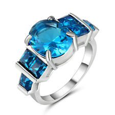 Round Cut Blue Sapphire Big Stone Wedding Ring 10KT white Gold Fillled Size  9