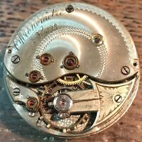 Chronometre Escapement Detent Pocket Watch Movement stem to 3 balance Ok.