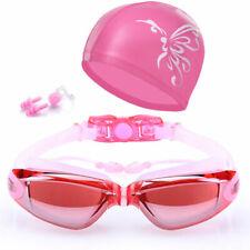 Women Swimming Goggles Anti-Fog Swim Glasses Uv Protection W/Nose Clip Cap Rose