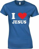I Love (heart) Jesus, Ladies Printed T-Shirt
