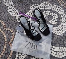 Zara Asymmetric Black Shoes 4 37 New Heels Sandals