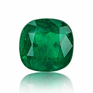 Colombia Natural Emerald Gemstone 9 Ct Green GRS Certified Loose Cushion Cut
