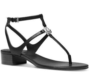 NEW Size 8 Michael Kors Lita Thong Sandals Black Leather