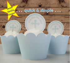 baby boy blue cross circles christening EDIBLE wafer cupcake cake toppers