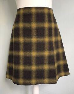 HOBBS Dark Brown Yellow Check Pure Wool A-Line Skirt UK 12 14 Lined Retro Career