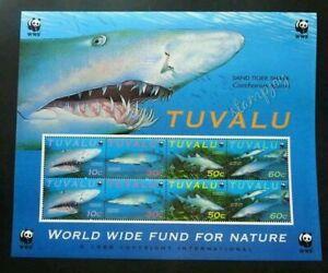 [SJ] Tuvalu WWF Shark Marine Life Ocean Underwater Species (sheetlet) MNH