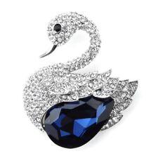 Luxury Silver and Dark Navy Blue Crystal Stone Swan Shape Women Brooch Pin