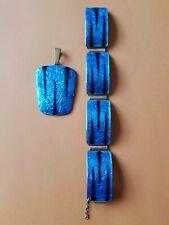 Kupfer Emaille Armband und Anhänger set Blau  vintage 1970+/-..?