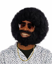 MENS BLACK AFRO WIG WITH FACIAL HAIR  FANCY DRESS HENDRIX LIONEL 60s 70s 80s