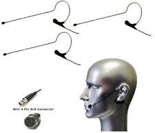 3pcs Black Headset Mic w TA4F for Shure Wireless System
