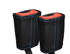 BLUE STITCH 2X FRONT LEATHER SEAT BELT SKIN COVERS FITS ROVER 400 1995-1999