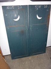 "PaiR c1890-1900 MOON cutout PANELed wooden house SHUTTERS 51"" h x 20"" w x 1 3/8"""