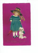 alte AK - Namenstag - süßes Mädchen mit Kleid - Hut - Schirm - Hund  gel. 1925 ?