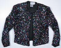 Vintage Adrianna Papell Multi Color Handmade Silk Sequin Evening Beaded Jacket M