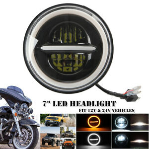 """20000LM 7"""" Round Halo Angel Eyes LED Headlight For Jeep Wrangler Ford Motorcycle"""