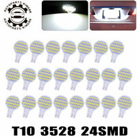20x T10 24SMD 168 192 194 Interior Light Pure White LED Reading Dome Map Bulbs