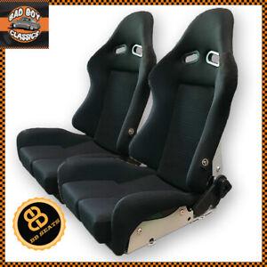 BB7 Fibreglass Fabric RECLINING Racing Bucket Sports Seats Black Universal PAIR