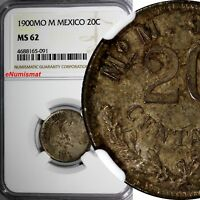 Mexico SECOND REPUBLIC Silver 1900 MO M 20 Centavos NGC MS62 Toned KM# 405.2