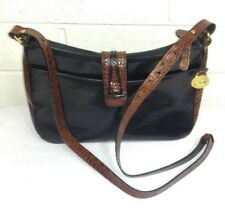 BRAHMIN TUSCAN MELBOURNE BLACK/PECAN  LEATHER CROSSBODY Handbag Purse