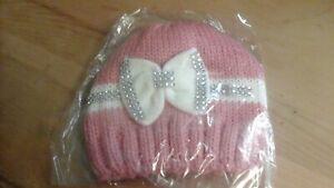 0-6 months baby girls warm knitted bow bling hat Bennie
