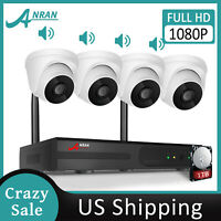 1080P 8CH WIFI Security Camera System Wireless Outdoor Audio Recording Home CCTV