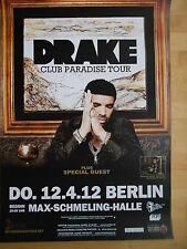 DRAKE 2012 BERLIN   orig.Concert-Konzert-Tour-Poster-Plakat DIN A1